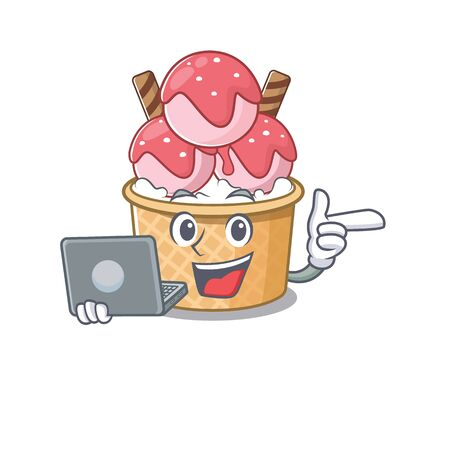 Smart character of ice cream sundae working with laptop. Vector illustration