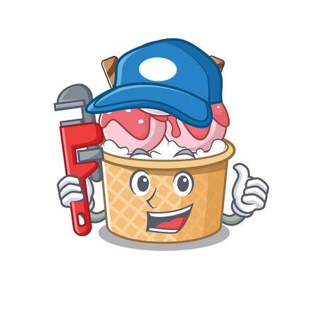 Cool Plumber ice cream sundae on mascot picture style. Vector illustration
