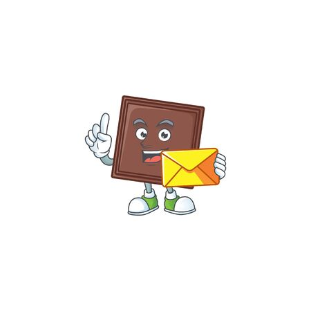 Cheerfully one bite chocolate bar mascot design with envelope