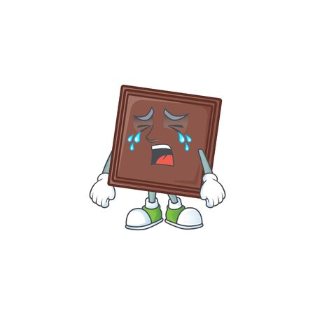 Sad of one bite chocolate bar cartoon mascot style