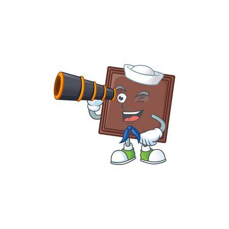 One bite chocolate bar cartoon happy Sailor style with binocular