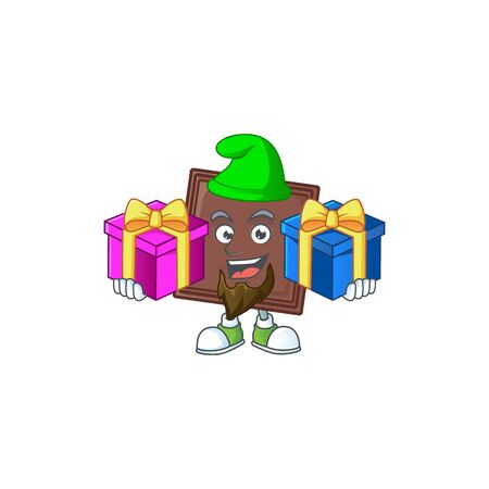 Cute one bite chocolate bar cartoon mascot style with Tongue out