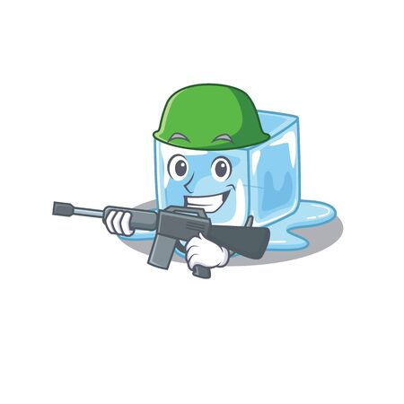 A cartoon design of ice cube Army with machine gun. Vector illustration