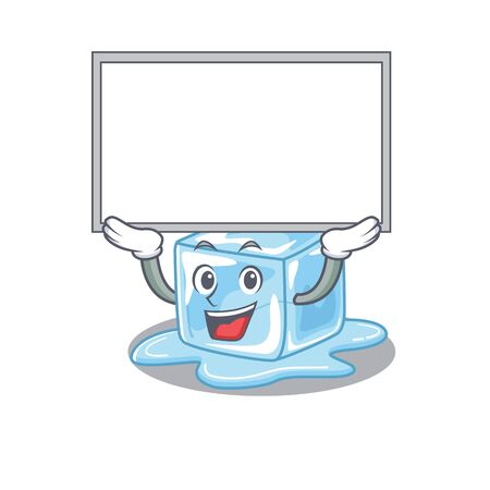 A mascot picture of ice cube raised up board. Vector illustration Stock Illustratie