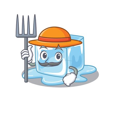 Cheerfully Farmer ice cube cartoon picture with hat and tools. Vector illustration Stock Illustratie