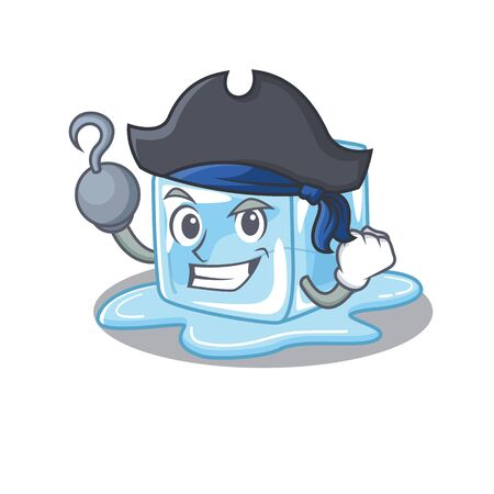 cool and funny ice cube cartoon style wearing hat. Vector illustration
