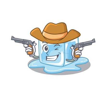 Ice cube dressed as a Cowboy having guns. Vector illustration