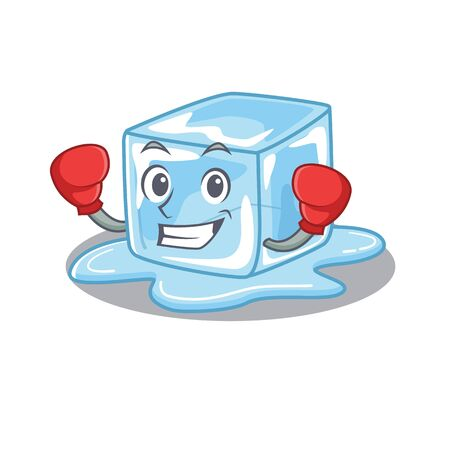 Sporty Boxing ice cube mascot character style. Vector illustration Stock Illustratie