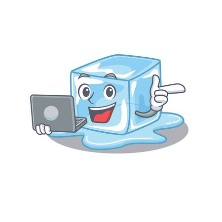 Smart character of ice cube working with laptop. Vector illustration Stock Illustratie