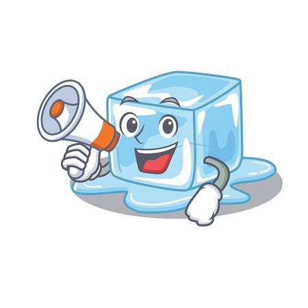 An icon of ice cube having a megaphone. Vector illustration