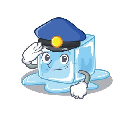 Ice cube Cartoon mascot performed as a Police officer. Vector illustration
