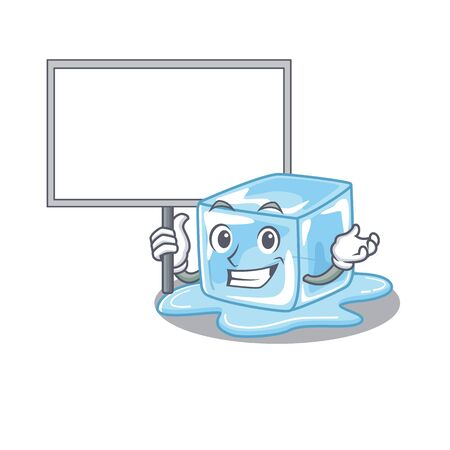 A cute picture of ice cube cute cartoon character bring a board. Vector illustration