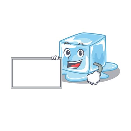 Funny ice cube cartoon character design style with board. Vector illustration