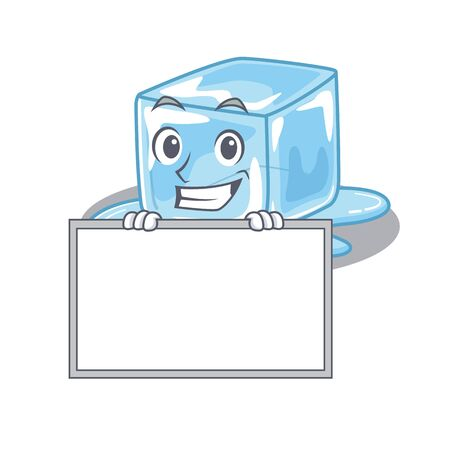 A cute picture of ice cube grinning with board. Vector illustration Stock Illustratie