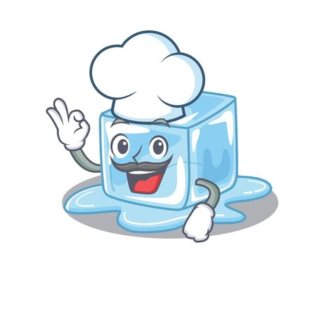 Ice cube cartoon character wearing costume of chef and white hat. Vector illustration