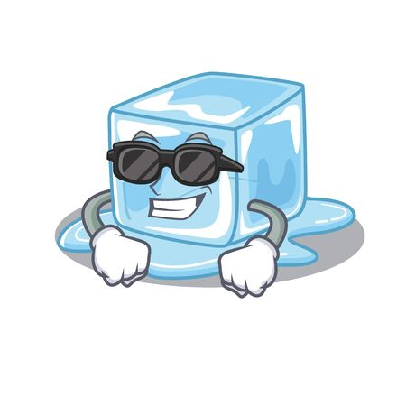 Super cool ice cube character wearing black glasses. Vector illustration Stock Illustratie
