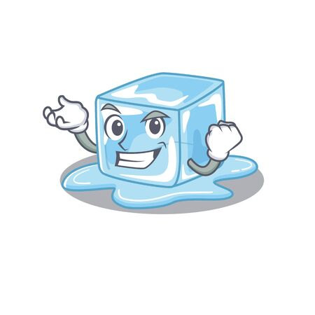 Happy confident Successful ice cube cartoon character style. Vector illustration