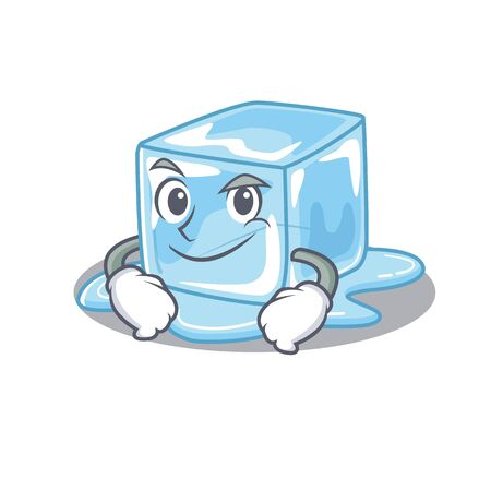Cool ice cube mascot character with Smirking face. Vector illustration
