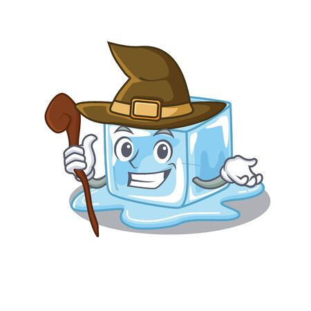 cartoon mascot style of ice cube dressed as a witch. Vector illustration Stock Illustratie