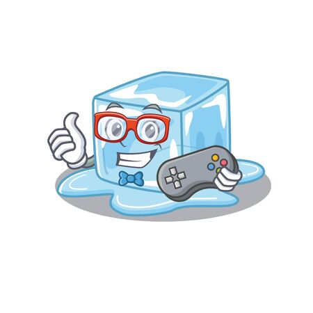 Smiley gamer ice cube cartoon mascot style. Vector illustration Stock Illustratie