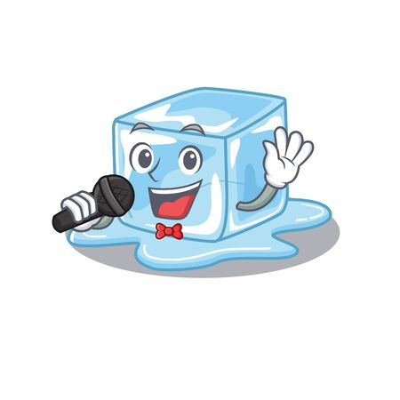 Happy ice cube singing on a microphone. Vector illustration Stock Illustratie
