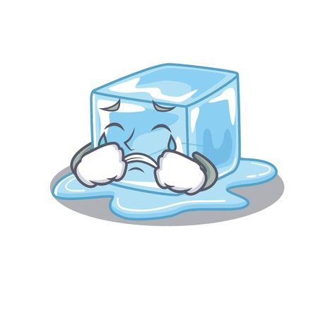 Sad of ice cube cartoon mascot style. Vector illustration