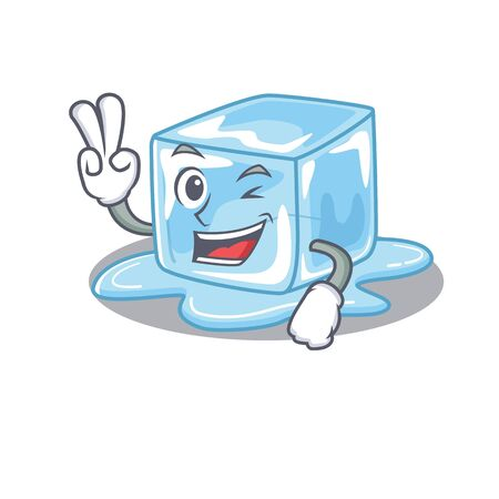 Smiley mascot of ice cube cartoon Character with two fingers. Vector illustration