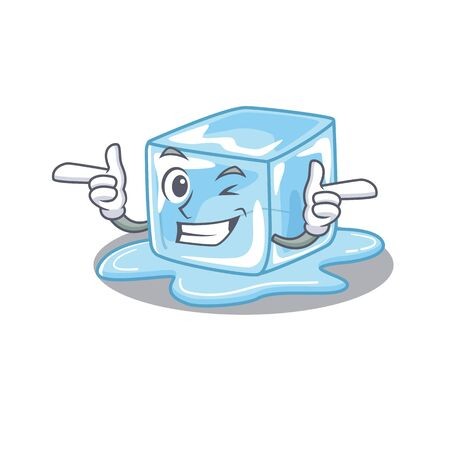 mascot cartoon design of ice cube with Wink eye. Vector illustration Stock Illustratie