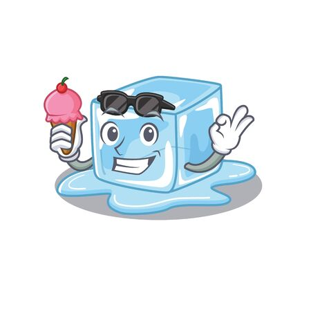 Ice cube mascot cartoon design with ice cream. Vector illustration Stock Illustratie