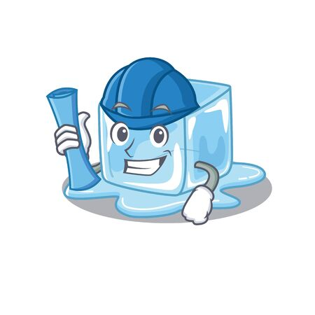 Elegant Architect ice cube having blue prints and blue helmet. Vector illustration