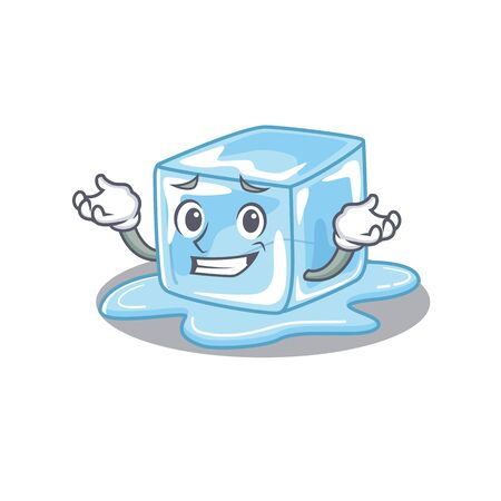 Super Funny Grinning ice cube mascot cartoon style. Vector illustration