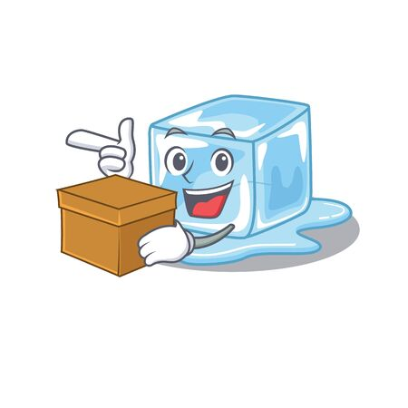 Cute ice cube cartoon character having a box. Vector illustration Stock Illustratie
