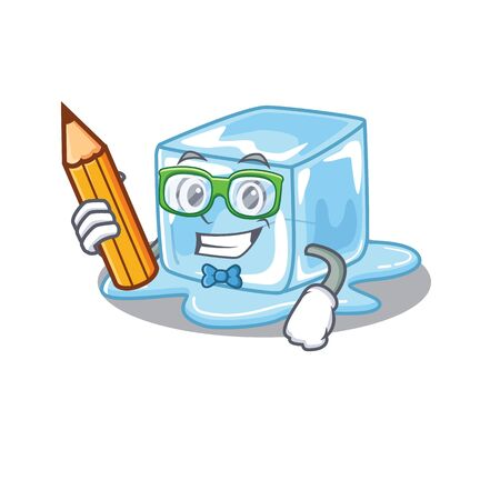 A picture of Student ice cube character holding pencil. Vector illustration Stock Illustratie
