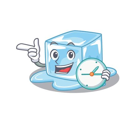 cartoon character style ice cube having clock. Vector illustration