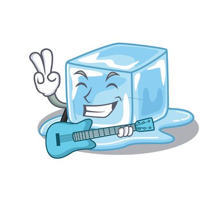 A mascot of ice cube performance with guitar. Vector illustration Stock Illustratie