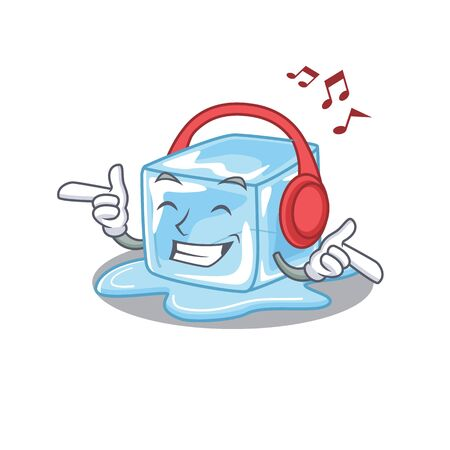 Listening music ice cube mascot cartoon character design. Vector illustration