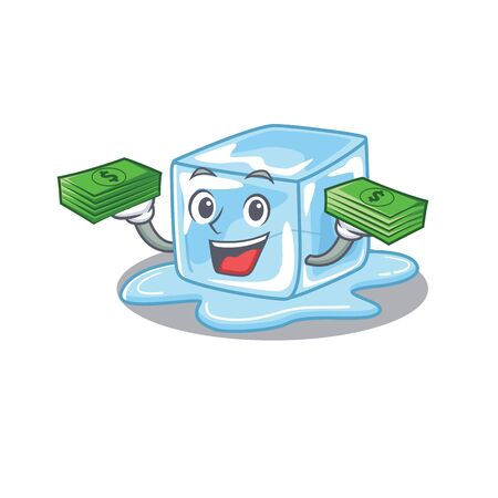 happy rich ice cube character with money on hands. Vector illustration