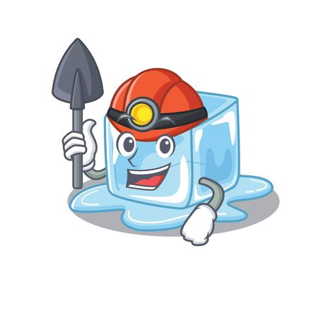 Cool clever Miner ice cube cartoon character design. Vector illustration
