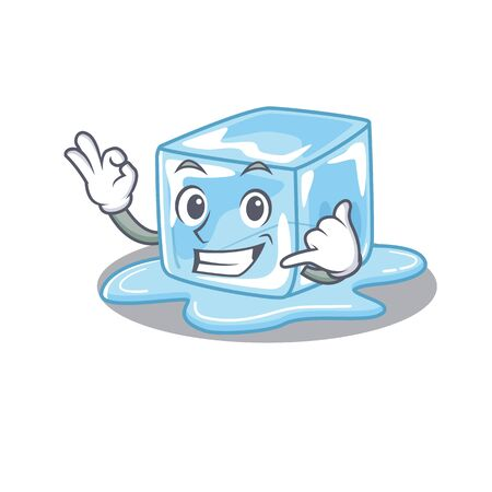 Call me funny ice cube mascot picture style. Vector illustration