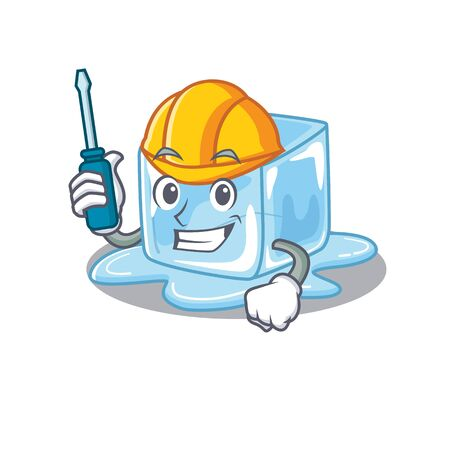 Cool automotive ice cube in cartoon character style. Vector illustration