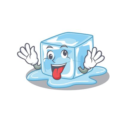 Ice cube Cartoon character style with a crazy face. Vector illustration