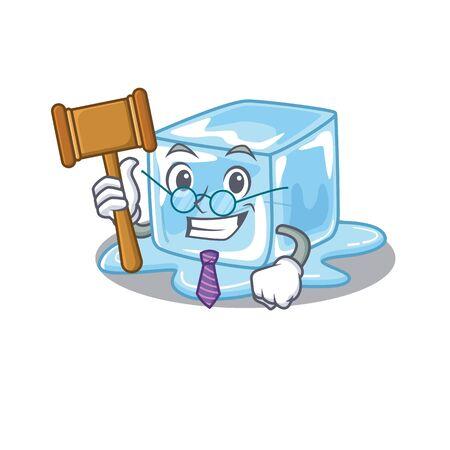 Smart Judge ice cube in mascot cartoon character style. Vector illustration