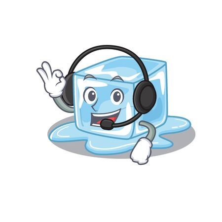 Smiley ice cube cartoon character design wearing headphone. Vector illustration