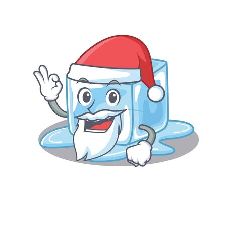 A picture of Santa ice cube mascot picture style with ok finger. Vector illustration
