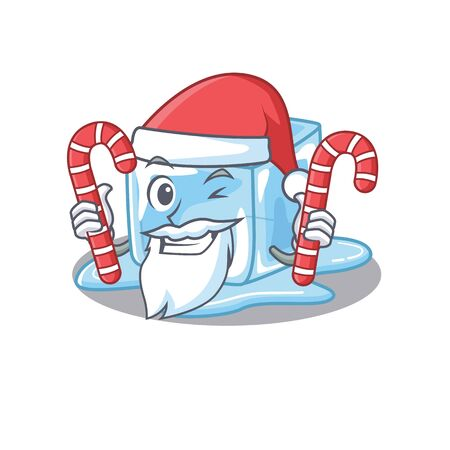 Ice cube Cartoon character in Santa costume with candy Stock Illustratie