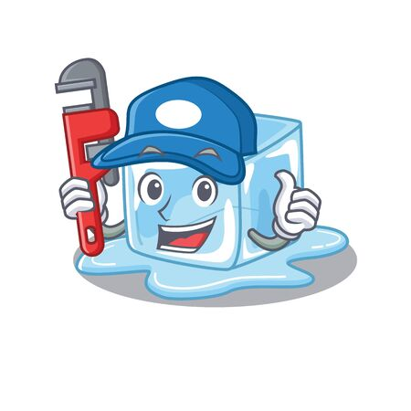 Cool Plumber ice cube on mascot picture style Stock Illustratie