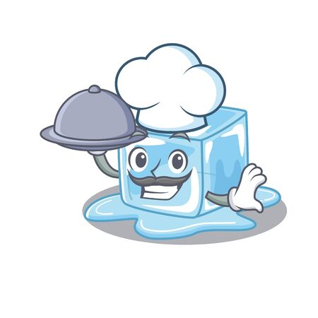 cartoon design of ice cube as a Chef having food on tray. Vector illustration