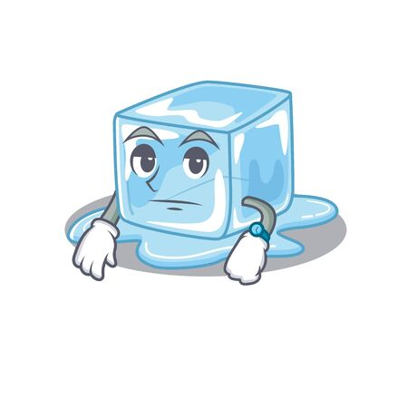 cartoon character design of ice cube on a waiting gesture