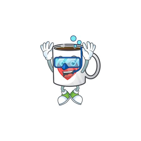 cartoon character of cup coffee love wearing Diving glasses. Vector illustration