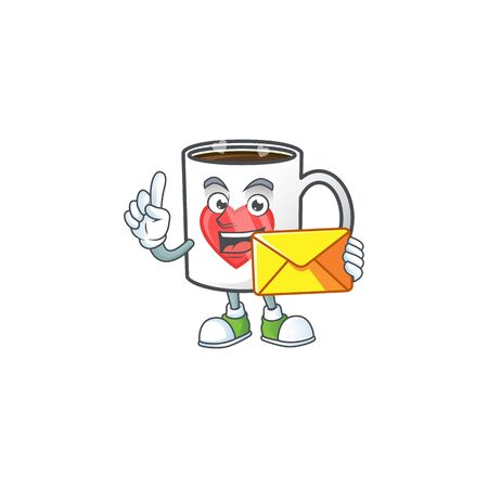 Cheerfully cup coffee love mascot design with envelope